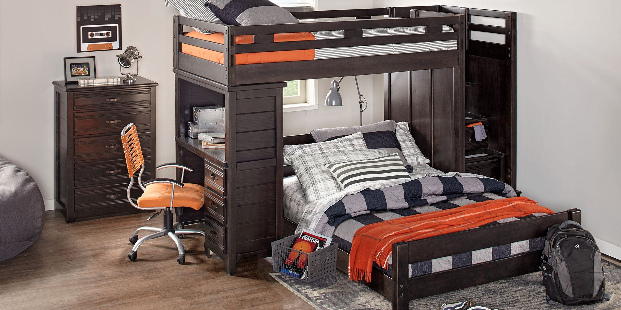 Creekside Charcoal Twin Full Step Bunk With Desk In 2020 Bunk Bed With Desk Bedroom Sets Bedroom Furniture Stores