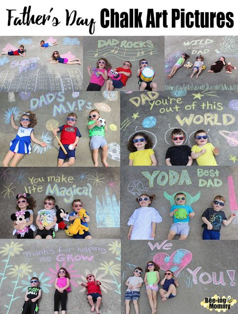 Father's Day Chalk Art Pictures For Father's Day this year I decided to make a series of chalk art pictures with my kids. Being that I have a one in a half year old, three and …