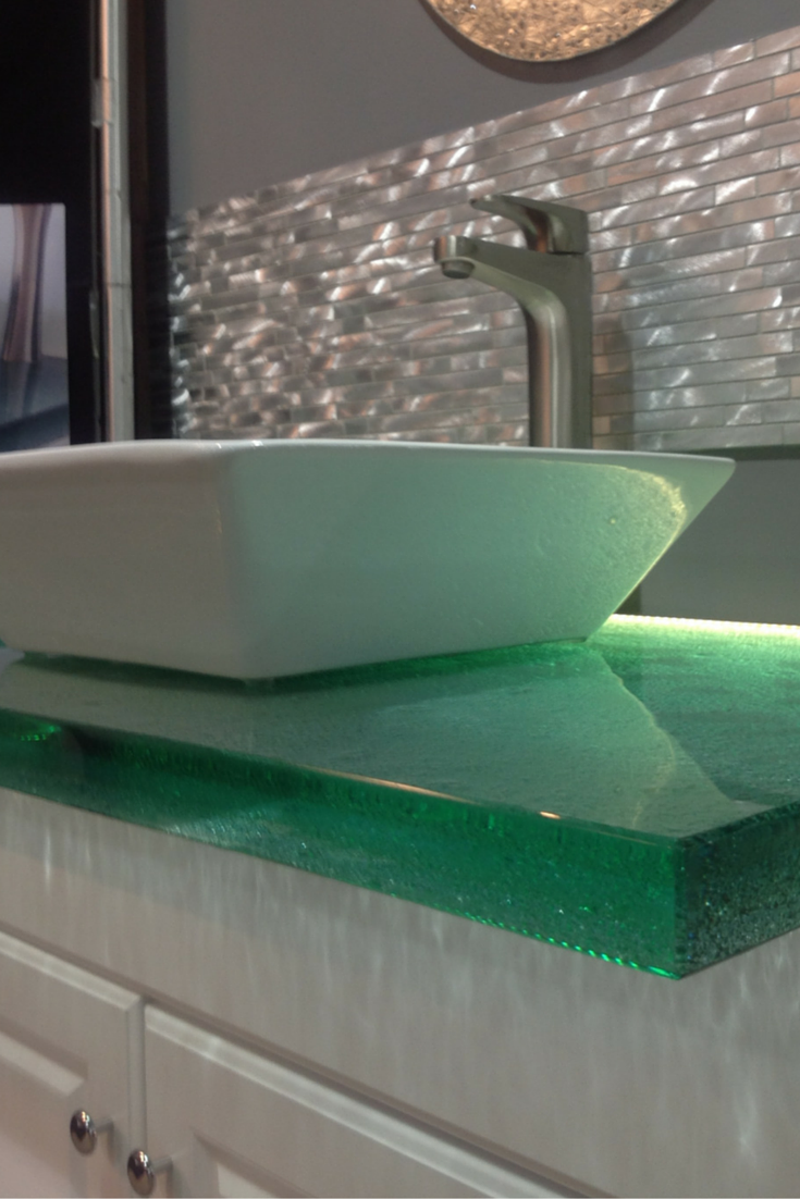 Love how this cast glass countertop with LED lighting shines through ...