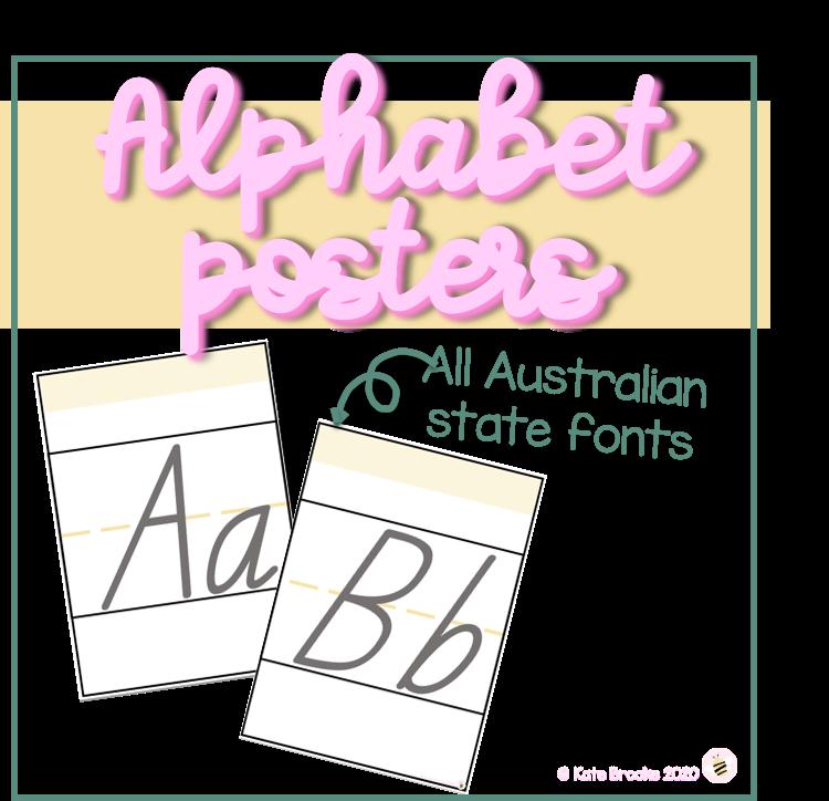 Alphabet display posters AUSTRALIAN HANDWRITING FONT