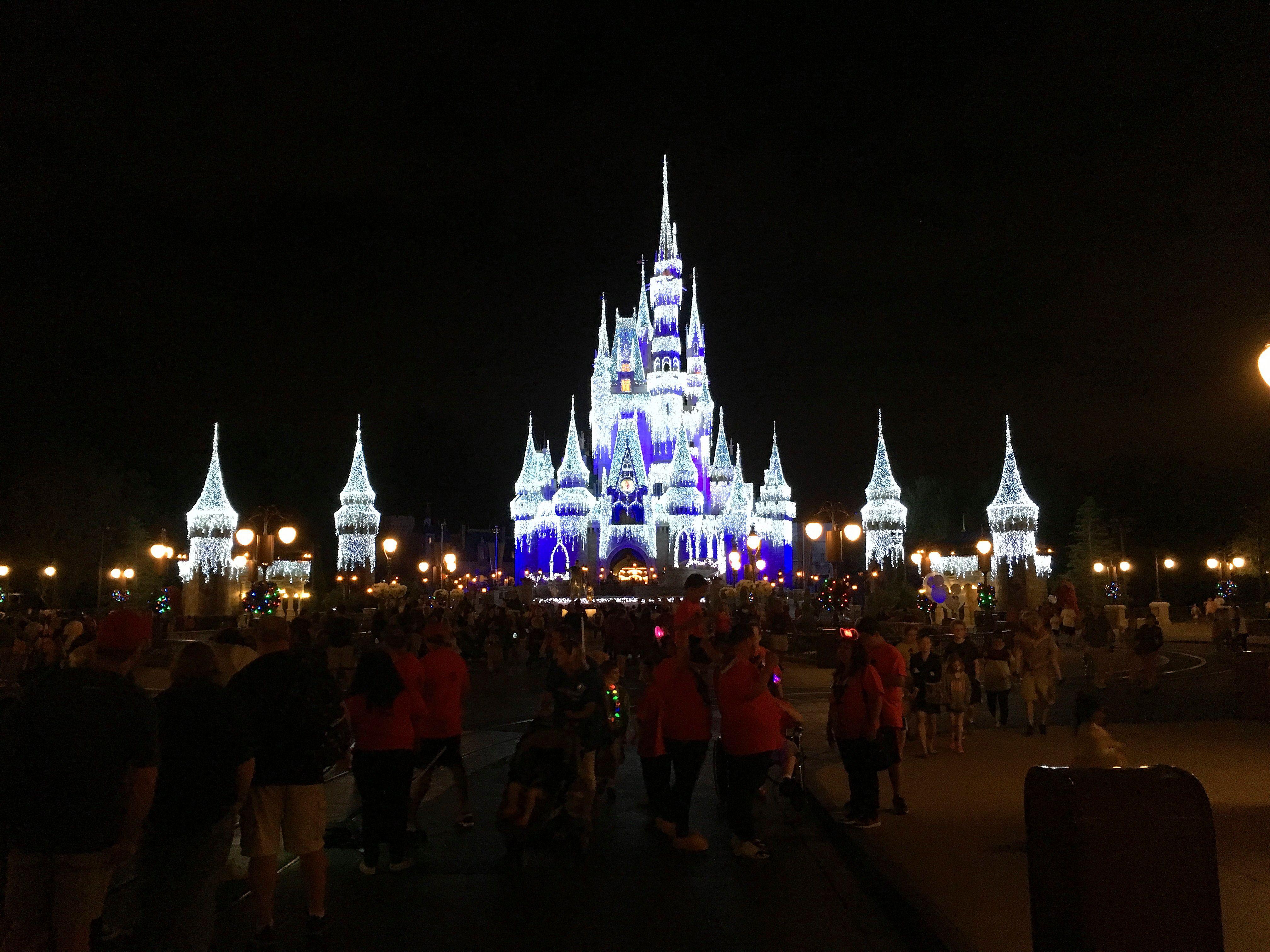 Magic Kingdom Cinderella Castle Holiday lighting scenery.