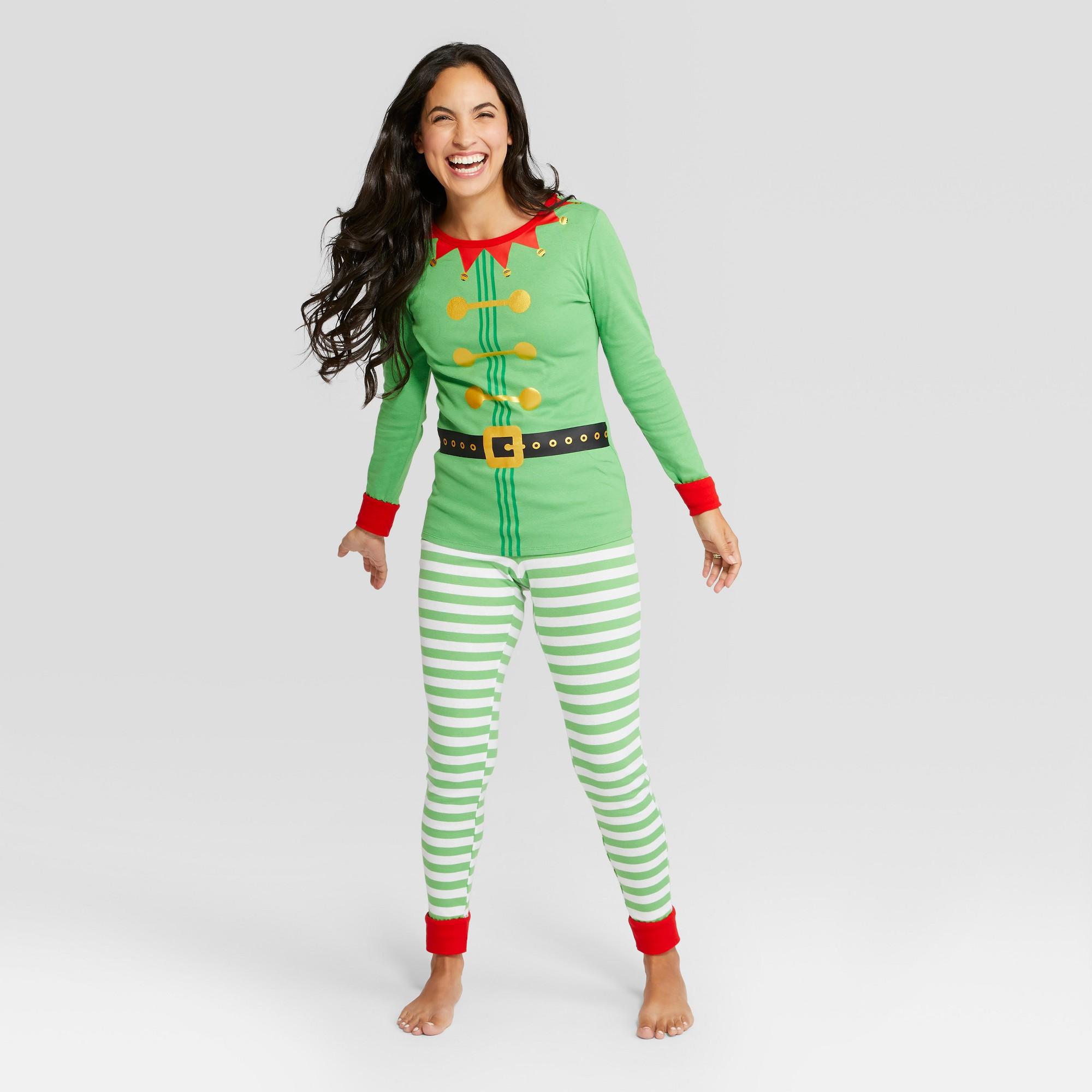 2b0e472bf7 Women s Holiday Elf Pajama Set - Wondershop Green S