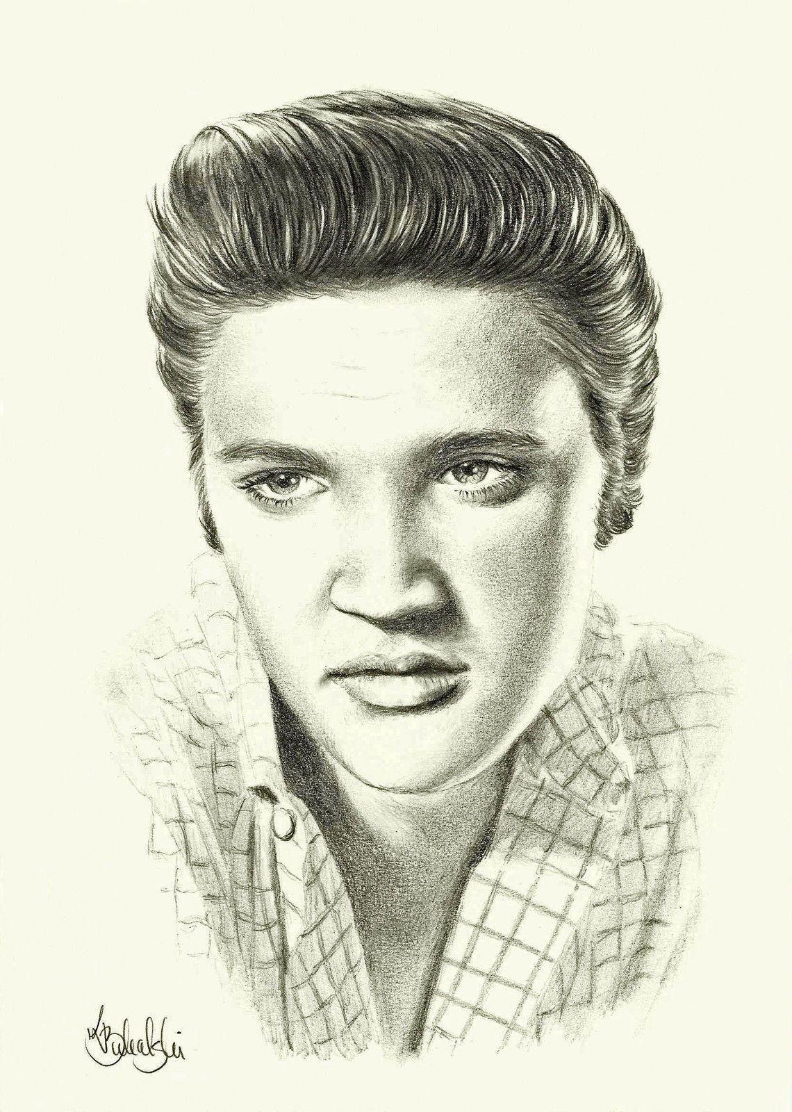 Elvis Presley A4 Print of The Original Pencil Drawing by Alizaryn ...