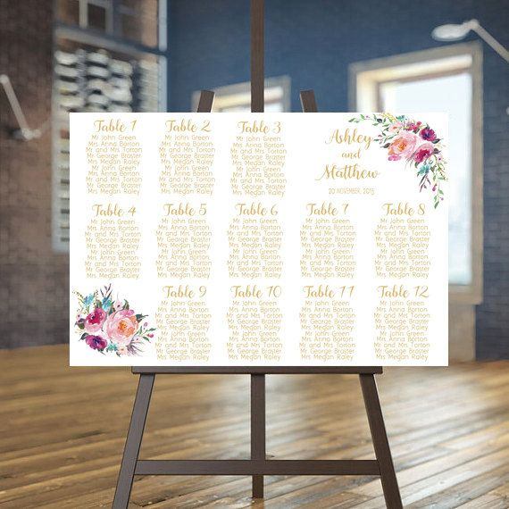 Wedding Seating Chart Printable Boho Guests List Fl Plan Guest Custom Gold Sign