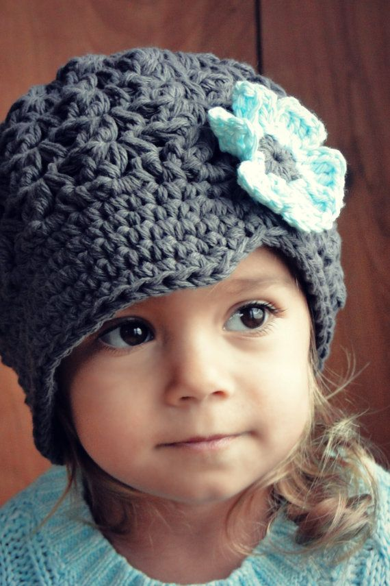 Hat for Girls, crochet baby hat, kids hat, gray hat, newsboy hat ...