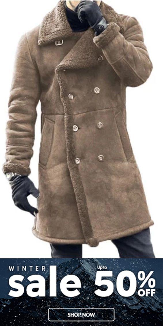 Men's Fashion Wide Lapel Woolen Double Breasted Plain Long