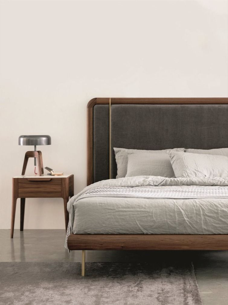 Bed With Frame In Canaletta Walnut Equipped With Wooden Slats Or