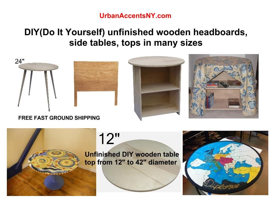 Unfinished Table Tops, Storage Tables, Headboards And Decorator Tables.  Many Sizes To Choose
