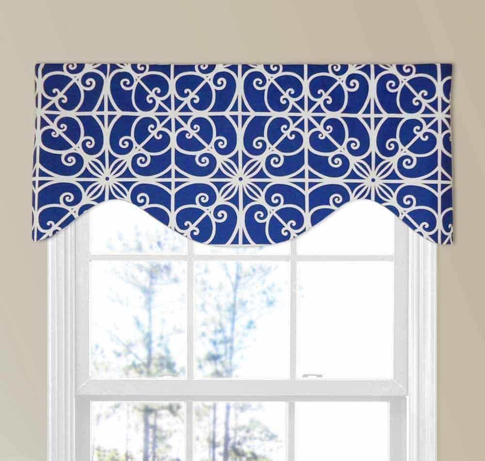 Colorful Geometric Print Valance In Royal Blue And White Modern