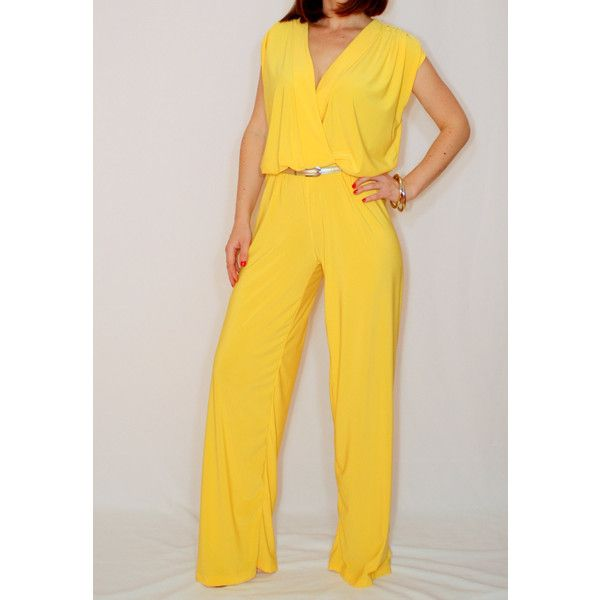 54823f77a7f Yellow Jumpsuit Sleeveless Jumpsuits Women Wrap Top Summer Jumpsuit Custom  Made featuring polyvore women s fashion clothing jumpsuits black jumpsuits  ...