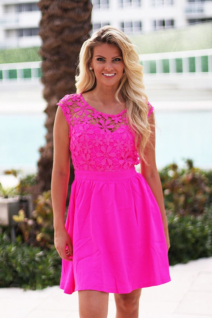 Neon Pink Short Dress With Crochet Back | Pinterest | Fucsia, Pink y ...