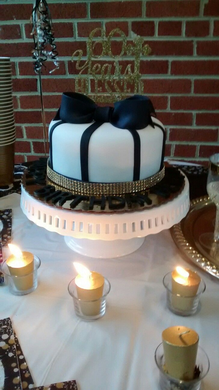 60th Birthday Cake Cute Black White And Gold Birthday Bow Cake