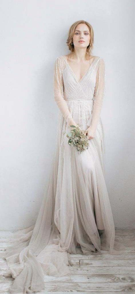 218a36d7 US$115.70-Sexy V Neck Tulle Boho Wedding Dress with Long Sleeves. https: