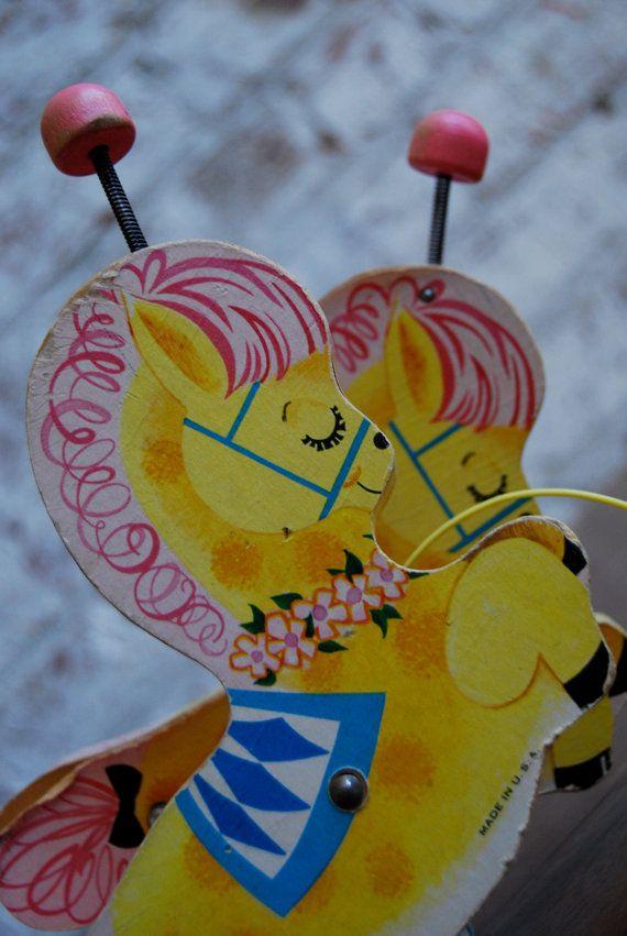 Vintage Fisher Price Banbury Cross Pink Circus Ponies
