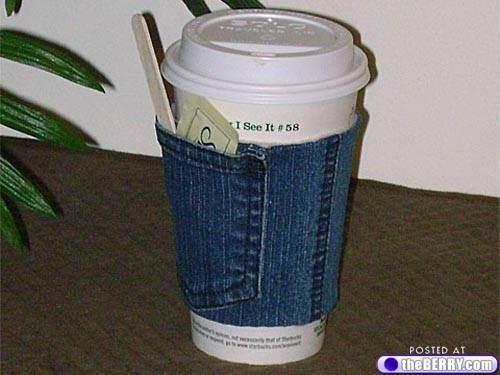Upcycled denim coffee cozy