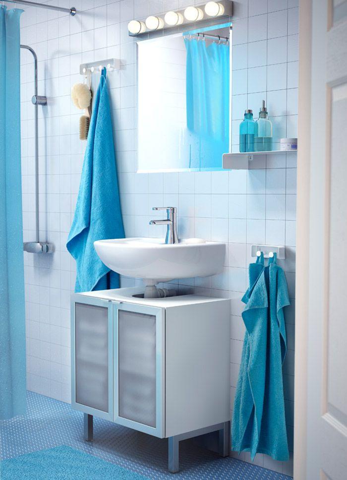 armario para lavabo lillngen con dos puertas de vidrio templado y lavabo ireviken