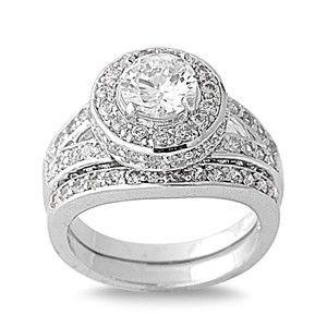Vintage Style Rhodium Silver Cubic Zirconia Halo Wedding Ring Set $110