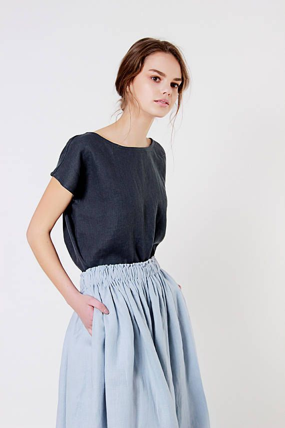 Beste Berlijn linnen blouse, houtskool linnen top, losse linnen blouse FQ-41