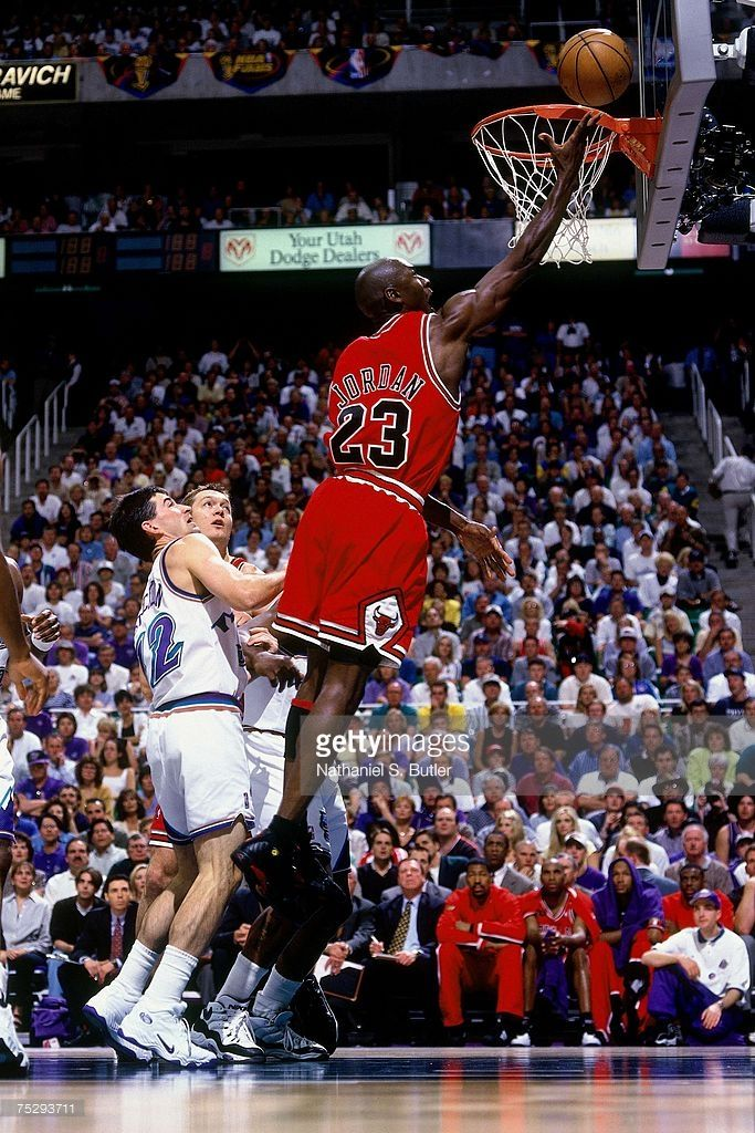 65be915064e6d8 Michael Jordan  23 of the Chicago Bulls shoots a layup against the Utah  Jazz in…