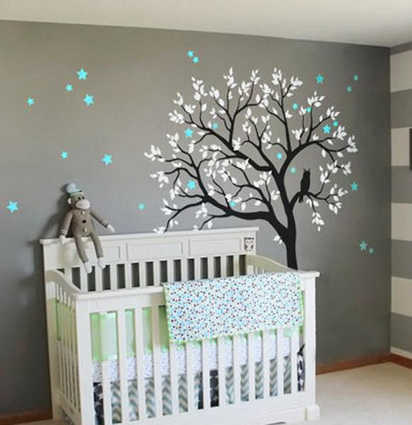Large Owl Hoot Star Tree Kids Nursery Decor Wall Decals Art Baby Mural Sticker