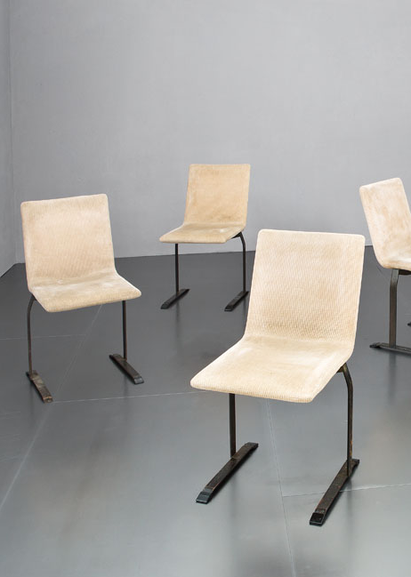 Giovanni Offredi; Burnished Steel Side Chairs for Saporiti, 1970s.