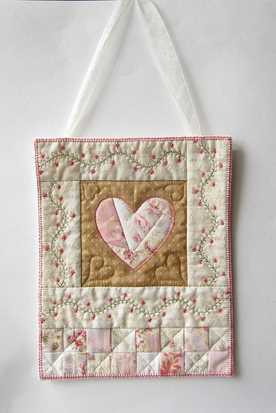 Heart Wall Quilt Shabby Cottage Chic Wall by LittleTreasureQuilts ... a01aa3b077