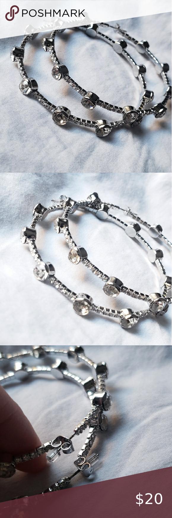 Hoop earrings New hoop earrings with faux diamonds  Silver  0705 Dolls Kill Jewelry Earrings