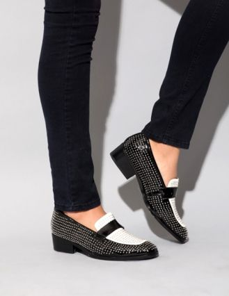 Black and white studded loafer, JEFFREY CAMPBELL  $178 @ Pixie Market