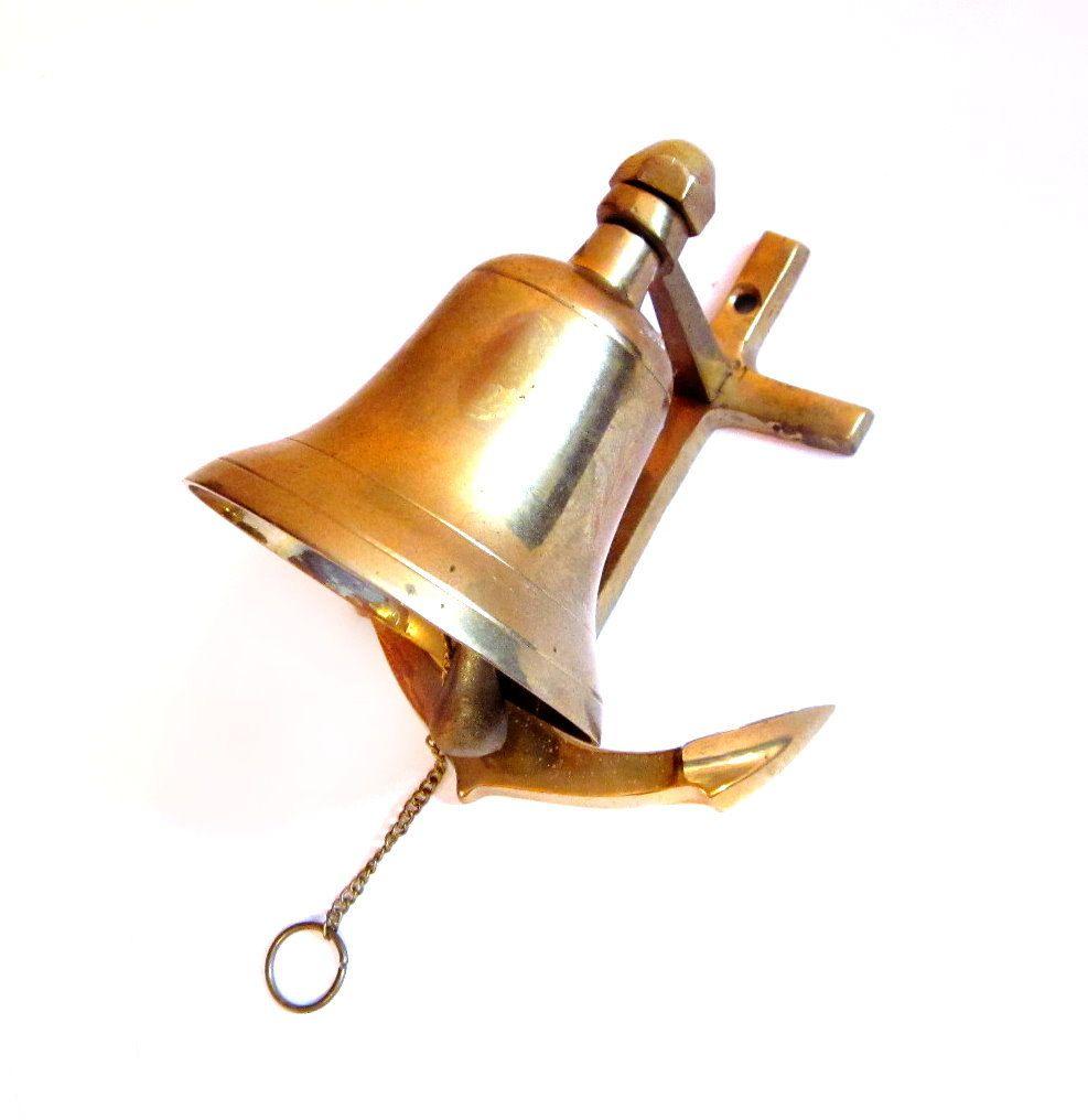 Vintage Nautical Brass Bell Wall Mount Dinner Bar Bell