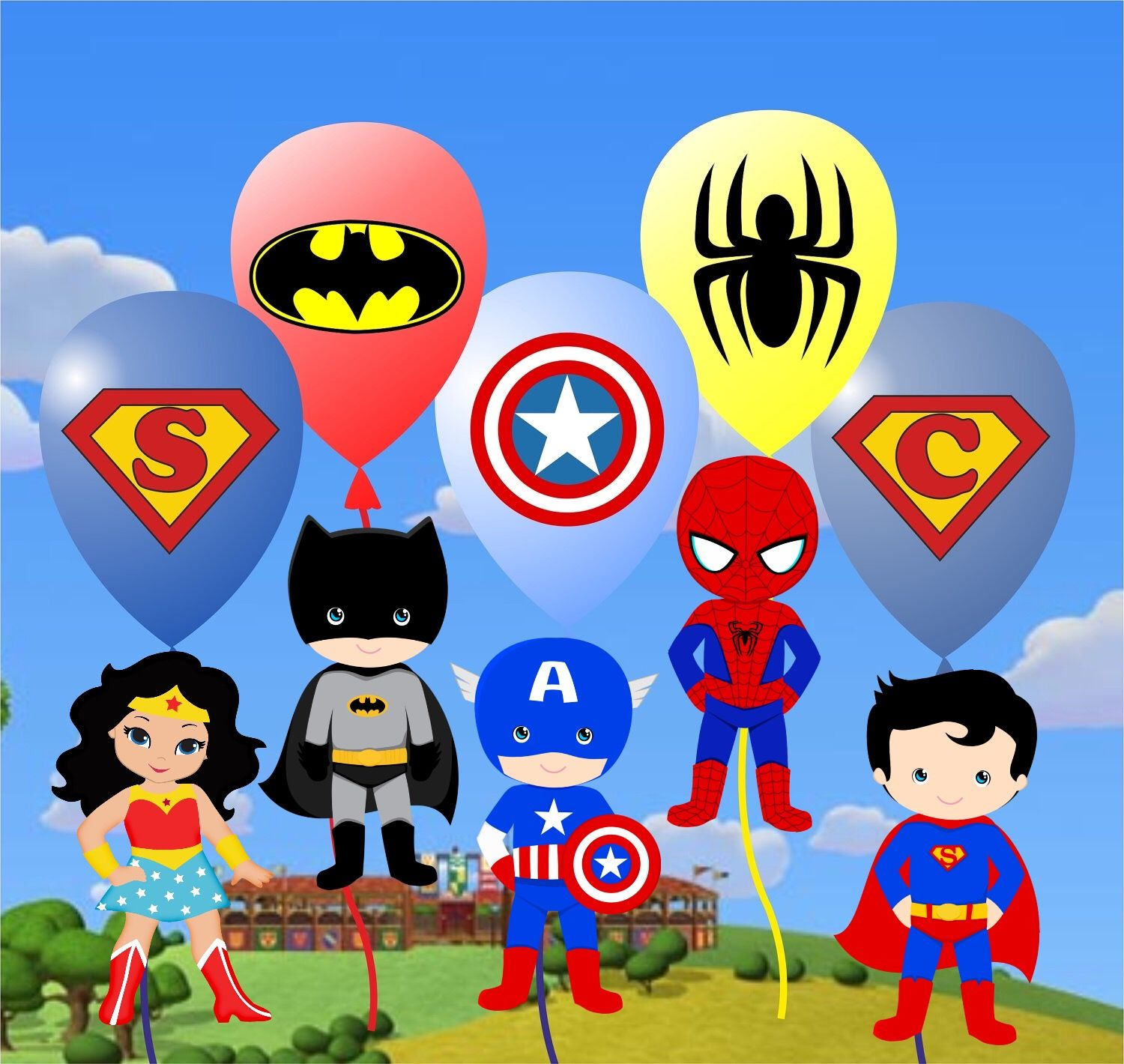 Baby superheroes clipart