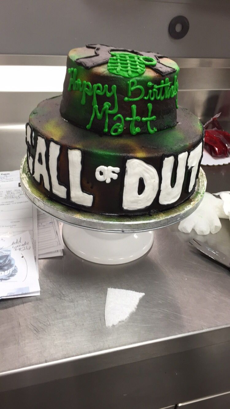 Call of duty cake Two tier buttercream cake Walmart cake Lizzys