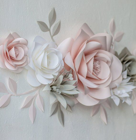 Paper Wall Flowers - Paper Blooms Wall Decor - Nursery Wall Decals Paper Flowers - Blush and Grey Paper Flowers (code:#140) #paperflowerswedding