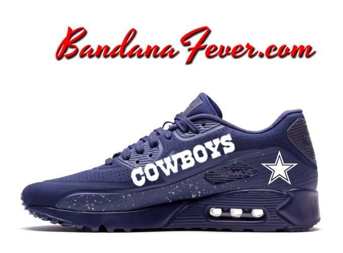 half off 97b97 b5f15 Custom Cowboys Nike Air Max 90 Shoes Ultra Midnight Blue ...