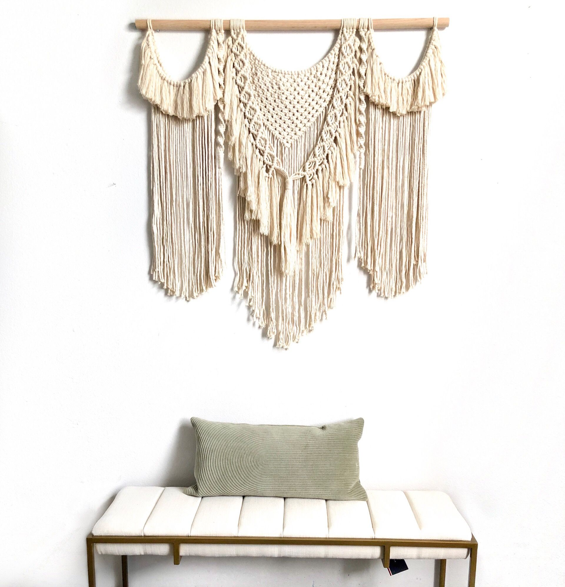 Large Handmade Macrame Wall Hanging For A Boho Mid Century Modern Interior Handmade Wall Handmade Wall Decor Large Macrame Wall Hanging Macrame Wall Hanging