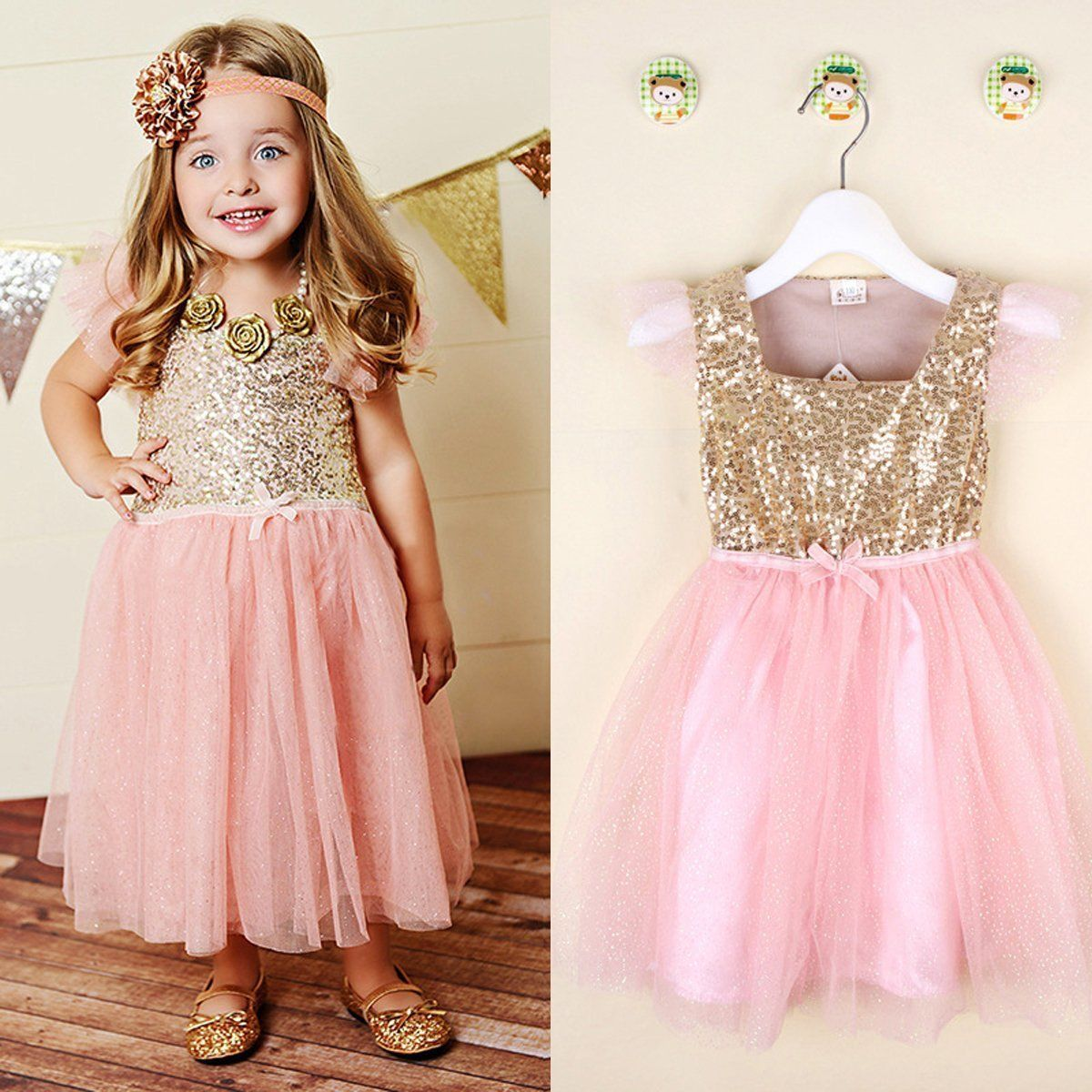 Flower Girls Kids Toddler Baby Princess Party Sequins Wedding Tulle ...