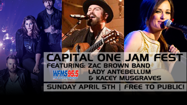 95.5 WFMS - The Country Station - Zac Brown Band, Lady Antebellum and Kacey Musgraves to perform at Capital One JamFest