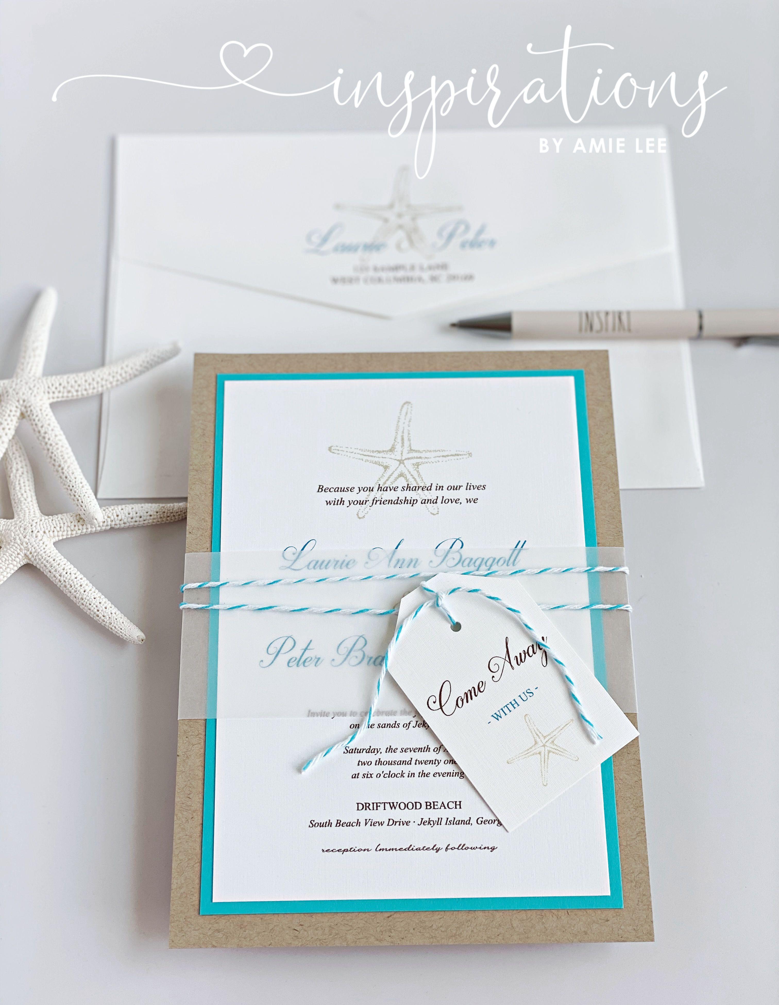 Elegant Beach Wedding Invitations Destination Wedding Tropical Island Wedding Florida Wedding Mexico Starfish Invitations In 2020 Beach Wedding Invitations Starfish Invitations Wedding Invitations