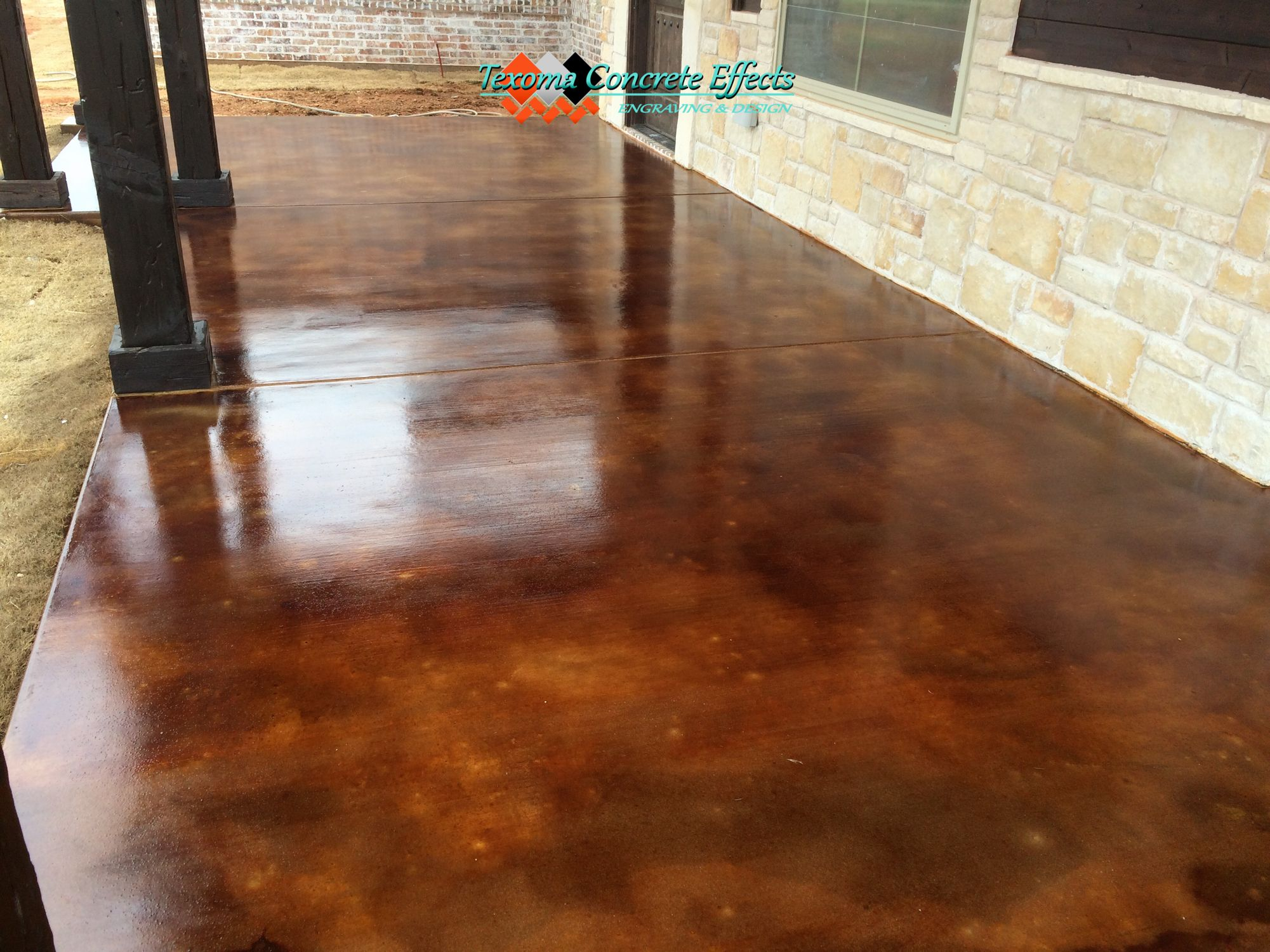 Acid Stained Concrete Front Porch by Texoma Concrete Effects in Wichita Falls, Tx.