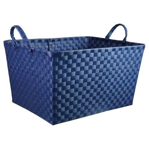 Large Woven Plastic Rectangular Storage Bin   $14.99 Dimensions: 16.000,H  18.000,W