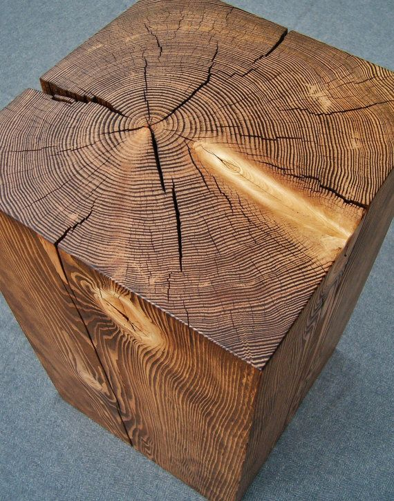 Hemlock Wood Block Side Table By Naturalwooddesign On Etsy I Want To Put See Through Gl Top So You Can The Rings And Finish It With Black