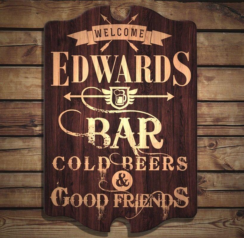 Custom Tavern Shaped Wood Bar Sign Bar Welcome Home Bar Signs Bar Signs Diy Bar Signs