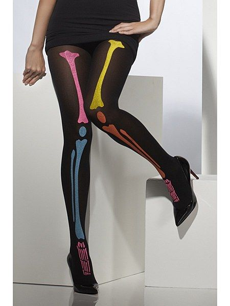 Halloween Fancy Dress Ladies Opaque Striped Tights Black /& Orange by Smiffys