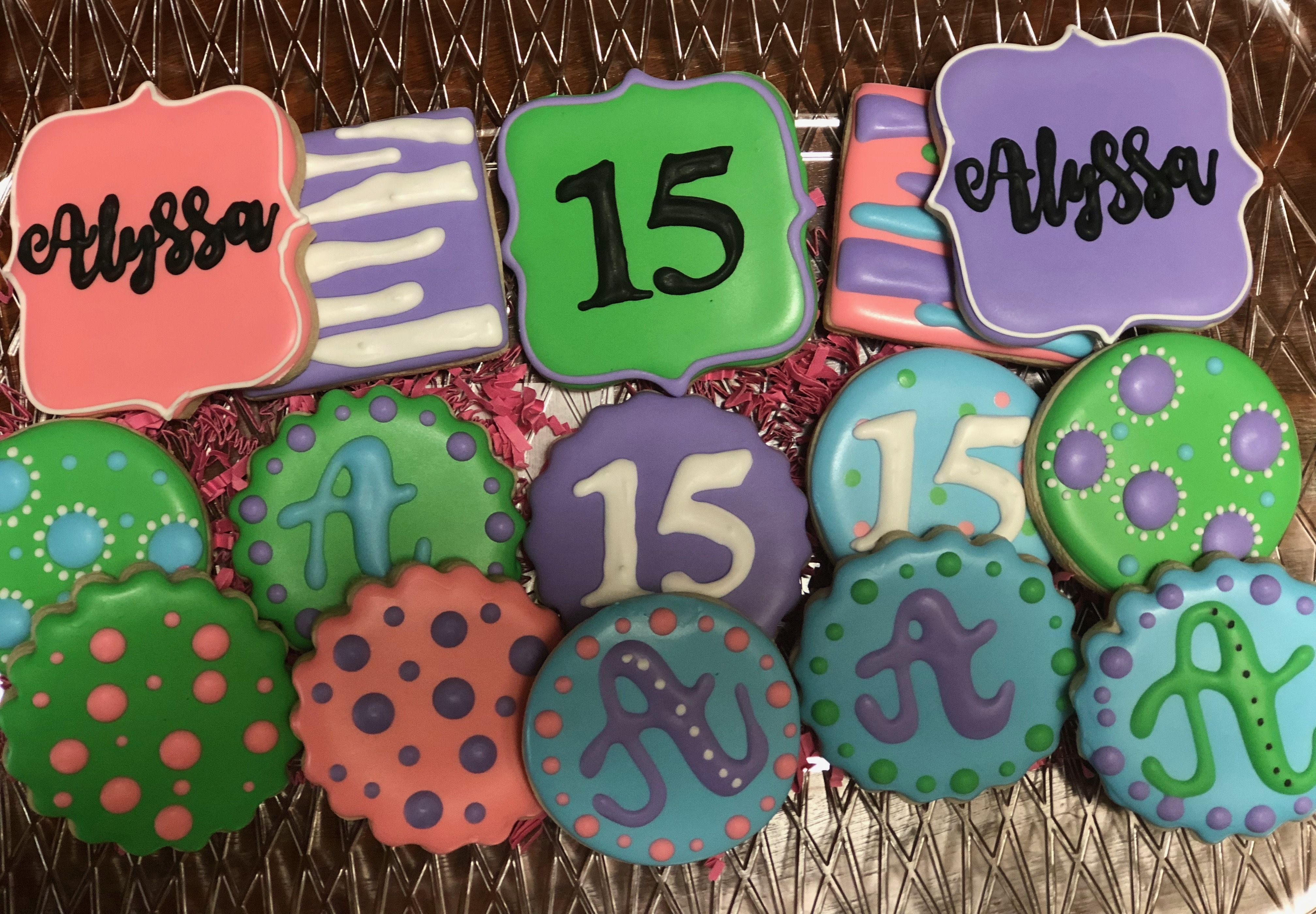 15th birthday cookies personalized birthday cookies