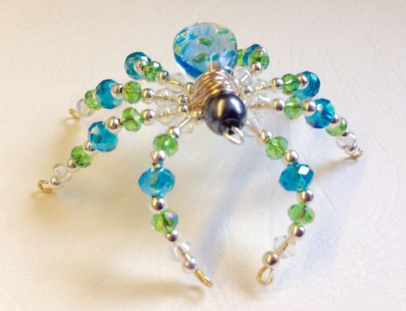 Beautiful Handmade Glass Crystal Spider Collectable