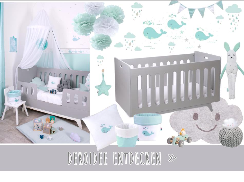Babyzimmer in grau & mint Tönen bei Fantasyroom online