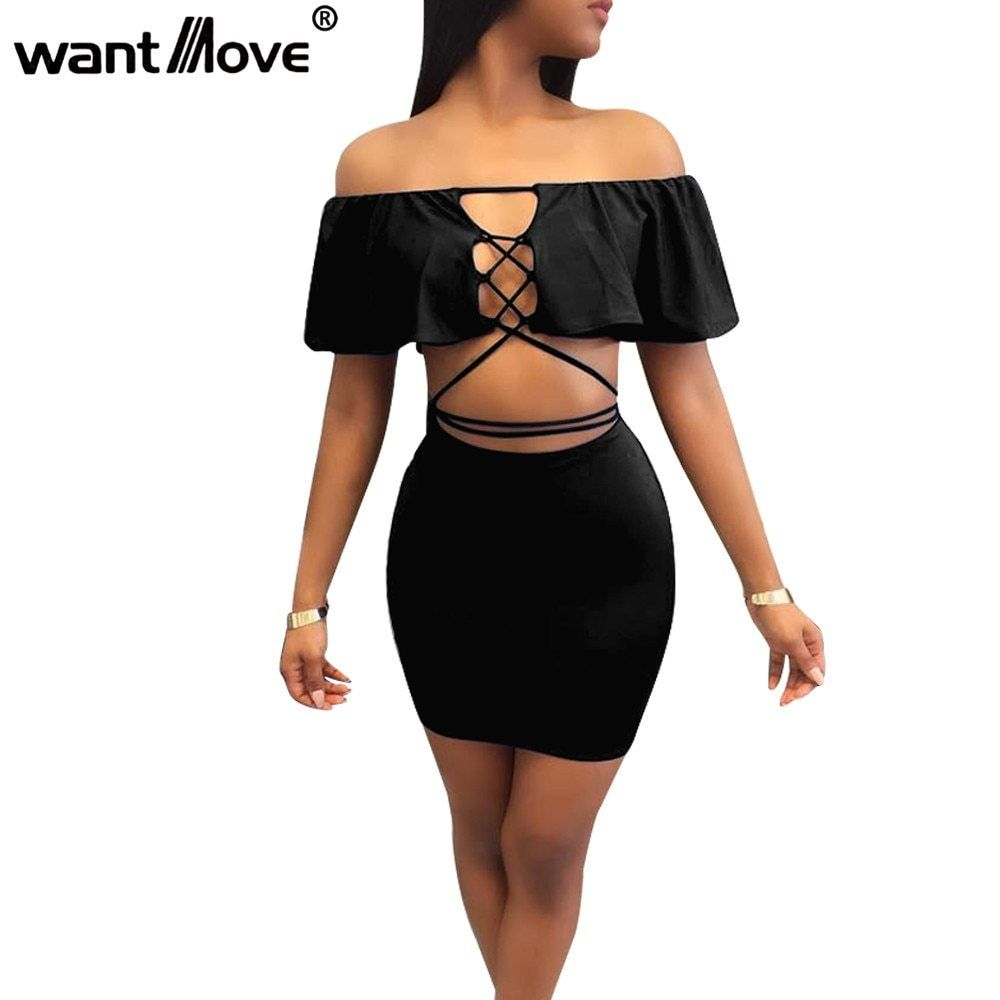ee775d2d33e Wantmove Sexy Women Lace Up Ruffled Elegant Dress 2018 Summer Fashion Off  The Shoulder 2 Pieces Mini Party Club Dresses Jz073