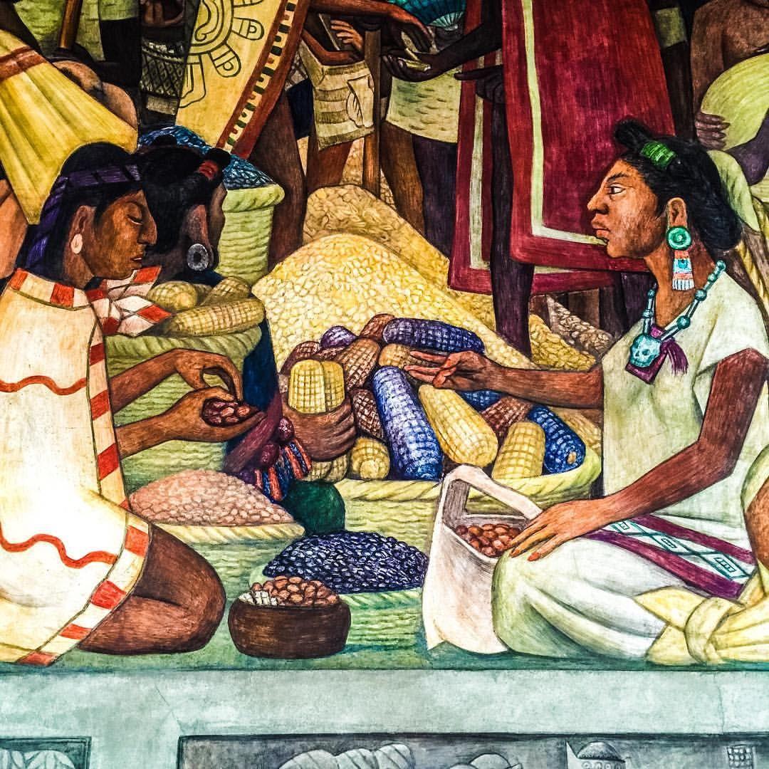 Trueque detalle del mural de diego rivera en el palacio for Arte mural en mexico