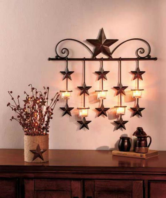 Star Rustic Tea Candle Sconce Metal Wall Holder Art Decor Primitive Country