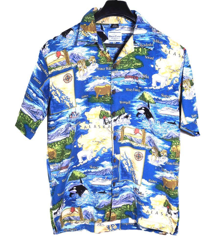f424848f99bb9e David Carey Originals Mens Alaska Cruise Ship Theme Hawaiian Shirt Large