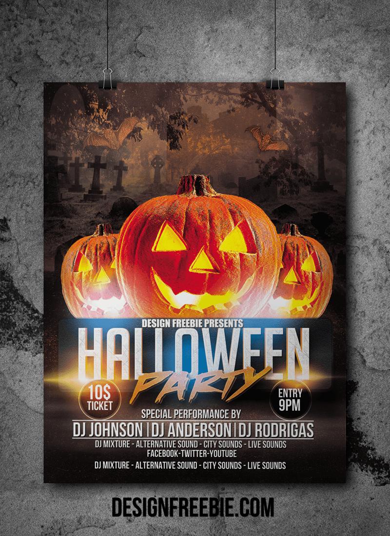 Halloween Party Flyer psd template ディスコ